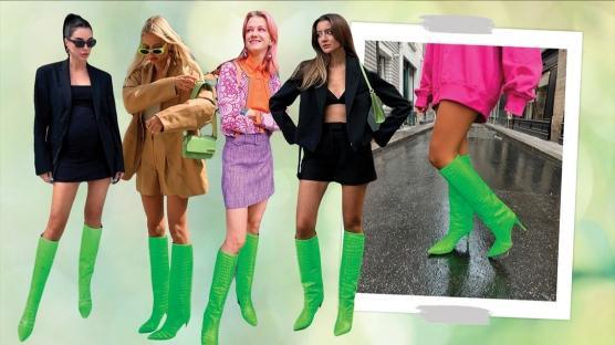 Neon Yeşil Çizmeler